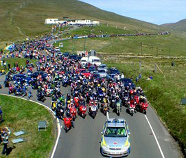 Bikers on Mad Sunday at the Isle of Man TT